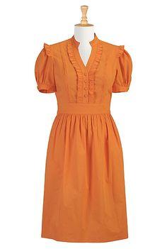Tux front poplin dress