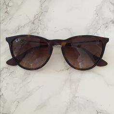 Erika Ray Bans Good condition! Regular size, brown tortoise matte finish. Ray-Ban Accessories Sunglasses