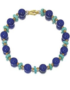 18 Karat Gold, Lapis Lazuli, Turquoise and Diamond Necklace | Lot | Sotheby's