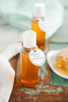 Paula Deen Corrie's Kitchen Spa: Savannah Bee Company Honey Hair Conditioner  1/2 cup organic honey, 4 tbsp light olive oil. Mix into hair, cover with cap and let set 30 mins before rinsing.