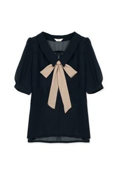 bow navy blouse