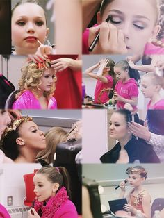 The girls from Dance Moms getting ready for competition.
