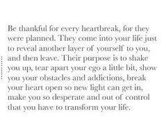 Be thankful for every heartbreak