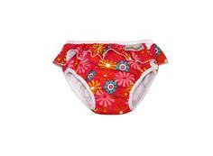 Söt badbyxa som passar lika bra till babysim som på semestern! Röd botten med färgglada blommor och söt volangkant upptill.