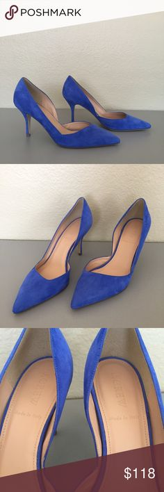 """New J. Crew Colette blue suede d'Orsay pumps New without box J. Crew """"Colette"""" d'Orsay pointed toe pumps. In bright blue suede with leather upper and lining. Size 6.5 with 3 1/8 inch heel. Flawless new shoes with no wear. Retail for $248. J. Crew Shoes Heels"""