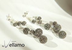 Statement dangling sterling silver stud earrings with by byVellamo, $43.00