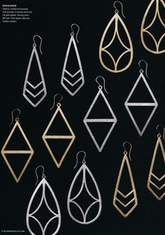 Dogeared Fashion Jewelry. Chevron, arched, and pyramid drop earrings in sterling silver and 14K gold.