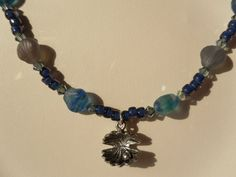 Blue Beaded Necklace with Glass Seashells by HappyTreeFrogStudios