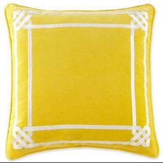 "Happy Chic Jonathan Adler Set 2 Lola Yellow White 18"" Pillow Covers #JonathanAdler"