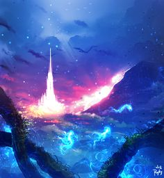 The fantasy land ( video ) by ryky on deviantart Fantasy Background, Fantasy Castle, Fantasy Landscape, Anime Scenery, Fantasy Artwork, Galaxy Wallpaper, Fantasy World, Beautiful Artwork, Oeuvre D'art