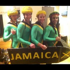 Cool Runnings: The Jamaican bobsled team! This is the best Halloween costume ever! I just need 3 friends. Funny Group Costumes, Creepy Costumes, Family Costumes, Easy Group Costume Ideas, Cheap Costume Ideas, Zombie Costumes, Diy Costumes, Office Halloween Costumes, Cheap Halloween