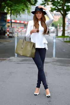 white blouse with skinny pants