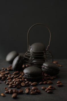 Black coffee macarons