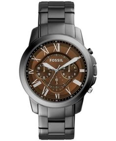 Fossil Men's Chronograph Grant Smoke-Tone Stainless Steel Bracelet Watch 45mm FS5090