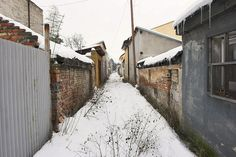 sideway streets in between house parcels in Trnavka Snow, Street, House, Outdoor, Mexico, Outdoors, Home, Roads, Haus