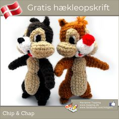 chip y chop amigurumi Crochet Disney, Crochet Dolls, Cute Crochet, Crochet Baby, Amigurumi Patterns, Amigurumi Doll, Crochet Patterns, Drops Design, Chip E Dale