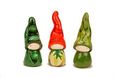 """Collectable, Charm, Vegetables, Gnomes, Waldorf, Desk toppers, Veggie OMs - 2"""" handmade clay figurines by ilovemyOM on Etsy https://www.etsy.com/uk/listing/168791003/collectable-charm-vegetables-gnomes"""