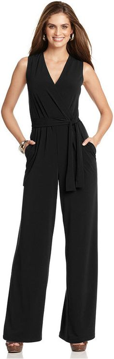 $49, Black Jumpsuit: Ny Collection Sleeveless Wide Leg Jumpsuit. Sold by Macy's. Click for more info: https://lookastic.com/women/shop_items/53369/redirect