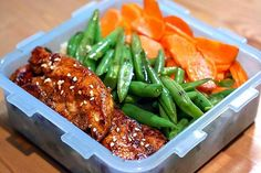 Teriyaki chicken + french beans + carrots on a bed of rice #lunch #worklunch #bento