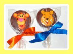 Ursinho Pooh e Tigrão - Pirulitos de chocolate decorados