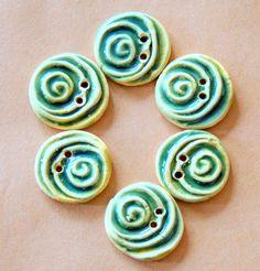 6 Handmade Ceramic Buttons - Spiral Buttons - Light Green Spirals