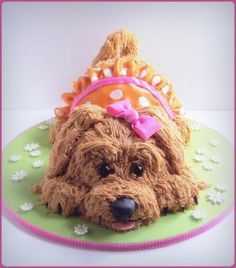 This adorable, sweet puppy cake tutorial was created by Naomi Hubert of Tea Party Cakes for SugarEd Productions. Buttercream Cake, Fondant Cakes, Cupcake Cakes, 3d Cakes, Fondant Bow, Fondant Flowers, Fondant Figures, Dog Cupcakes, Fancy Cakes