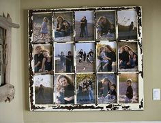 Repurposed old window as picture frame/ collage