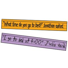 Find out what's on your students' minds with this dialogue-writing activity. Instruct each child to write on a sentence strip a question a classmate could answer; then have him add quotation marks, his name, and a dialogue tag. Collect the strips and hand a different one to each student. Instruct each child to write her response on a different sentence strip; then display each pair of strips together.