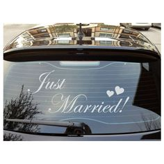 Just Married Decal Wedding Car Wall Sticker Married Marry Wedding Day... ($13) ❤ liked on Polyvore featuring home, home decor, wall art, green, home & living, home décor, wall decals & murals, wall décor, cars wall stickers and wall-decal