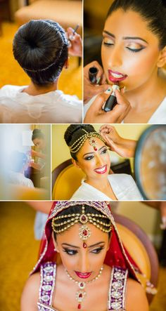 red lip and stunning headpiece Shaadi Belles : Search, Save, & Share your South Asian Inspiration