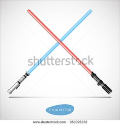 Blue And Red Light Swords   Futuristic Energy Weapon. Isolated Vector  Illustration