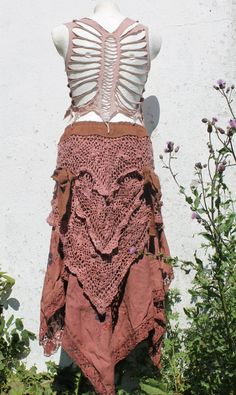 Vintage antique tattered fairy gypsy swirl long fishtail pirate style romantic skirt in crochet plum handdyed lace and cotton embroidery.