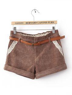 Khaki Mid Waist Lace Pockets Shorts - Sheinside.com