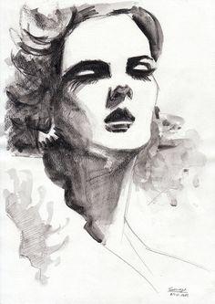 Original Watercolour Drawing - Glamourous Fashion Illustration Lady Lashes on Etsy, $35.05 AUD