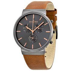 Skagen Ancher Chronograph Grey Dial Brown Leather Men's Watch SKW6106 - Ancher - Skagen - Watches - Jomashop