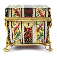 Antique Bohemian Moser Raised Enamel Gold & Silver Gilt Hand Painted Ruby Red Glass Sugar Casket / Jewelry Box