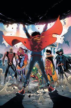 Super Boy Aqualad, Robin, Starfire, and Raven