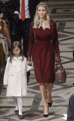 Ivanka walks alongside daughter Arabella, as she arrives at the interfaith prayer service