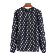 SheIn(sheinside) Blue Long Sleeve Polka Dot Chiffon Blouse (€12) ❤ liked on Polyvore featuring tops, blouses, blue, chiffon top, blue chiffon blouse, long sleeve blouse, long sleeve chiffon top and long sleeve tops