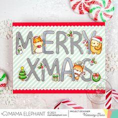 mama elephant   design blog: STAMP HIGHLIGHT: Merrygrams AEIOUY Merry Christmas Wishes, Merry Xmas, Mama Elephant Stamps, Beautiful Christmas Cards, Elephant Design, Christmas Colors, Pattern Paper, Hand Lettering, Highlight