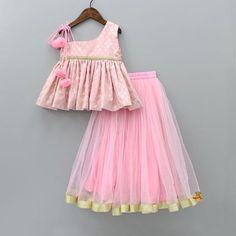 Pre Order: Pink Peplum Top With Lehenga Girls Frock Design, Baby Dress Design, Kids Dress Wear, Kids Gown, Baby Frocks Designs, Kids Frocks Design, Baby Girl Party Dresses, Dresses Kids Girl, Kids Outfits