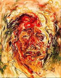 Affandi    Self Portrait, 1975.    Oil on canvas.    Affandi (1907 - 90) was one of the first few very important Indonesian modern art painters. He was known as an Expressionistic painter.  He painted by squeezing paint straight from the tubes and then smearing them with his hands if necessary.    This self-portrait was painted for the Singapore University in 1975 when he was conferred with a honorary degree then.