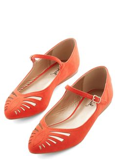Head of the Sass Flat in Scarlet. In your group of friends, youve got the most plucky personality, which you exude in these bright scarlet, vegan faux-suede flats! #orange #modcloth