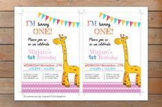 Invitación de cumpleaños de jirafa fiesta de por NellysPrint