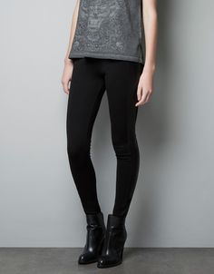 Leggings with Faux Leather Side Patches - Lyst