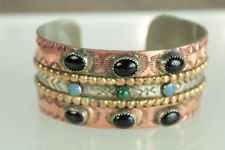 Southwestern Syle Mixed Metal Copper Stamped Cuff Bracelet Onyx Turquoise Stones