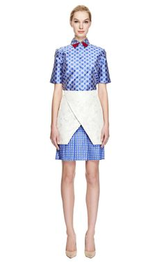 Brocade and Satin Jacquard Pleated Skirt by Ostwald Helgason Now Available on Moda Operandi