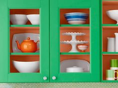 HGTV Magazines shares how to paint green kitchen cabinets