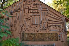 Display of antique forestry and farming tools by Larry Senalik, via Flickr