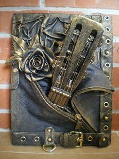 steampunk victorian guitar, steampunk flying v guitar, victorian steampunk guitar, the last steampunk waltz guitar tab, steampunk wood guitar Mixed Media Journal, Mixed Media Canvas, Mixed Media Collage, Altered Canvas, Altered Art, Steampunk Crafts, Steampunk Guitar, Mixed Media Scrapbooking, Mixed Media Techniques